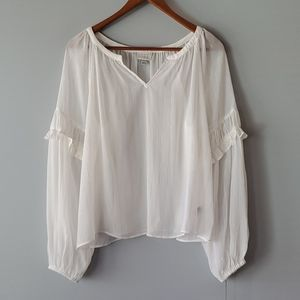 a new day White Gold Boho Long Sleeve Blouse L